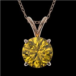 1.27 CTW Certified Intense Yellow SI Diamond Solitaire Necklace 10K Rose Gold - REF-240V2Y - 36795