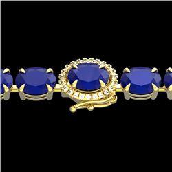 37 CTW Sapphire & VS/SI Diamond Tennis Micro Pave Halo Bracelet 14K Yellow Gold - REF-272X7R - 23424