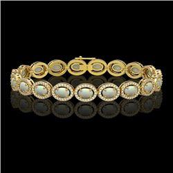 9.5 CTW Opal & Diamond Bracelet Yellow Gold 10K Yellow Gold - REF-251W8H - 40861
