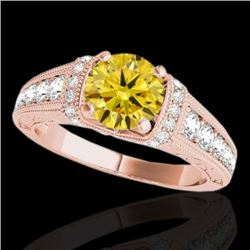 1.75 CTW Certified SI Intense Yellow Diamond Solitaire Antique Ring 10K Rose Gold - REF-218A2V - 347