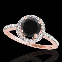 1.40 CTW Certified VS Black Diamond Solitaire Halo Ring 10K Rose Gold - REF-61Y8X - 34100