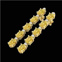 6 CTW Citrine & VS/SI Diamond Certified Tennis Earrings 10K Yellow Gold - REF-38M2F - 21519