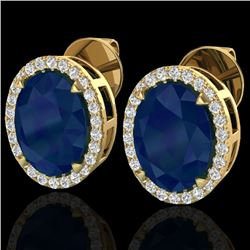 5.50 CTW Sapphire & Micro VS/SI Diamond Halo Earrings 18K Yellow Gold - REF-81X8R - 20260