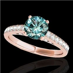1.50 CTW SI Certified Fancy Blue Diamond Solitaire Ring 10K Rose Gold - REF-200V2Y - 34868