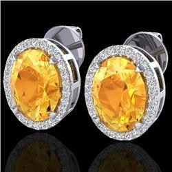 5.50 CTW Citrine & Micro VS/SI Diamond Halo Earrings 18K White Gold - REF-63H3M - 20246