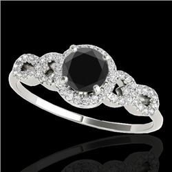 1.33 CTW Certified VS Black Diamond Solitaire Ring 10K White Gold - REF-59F5N - 35316