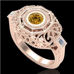 0.75 CTW Intense Fancy Yellow Diamond Engagement Art Deco Ring 18K Rose Gold - REF-227A3V - 37820