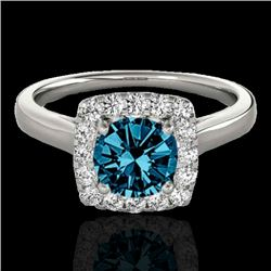 1.37 CTW SI Certified Fancy Blue Diamond Solitaire Halo Ring 10K White Gold - REF-167H3M - 33414
