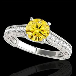 1.82 CTW Certified SI/I Fancy Intense Yellow Diamond Solitaire Ring 10K White Gold - REF-254M5F - 34