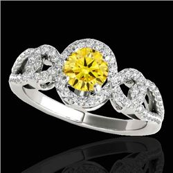 1.38 CTW Certified SI/I Fancy Intense Yellow Diamond Solitaire Halo Ring 10K White Gold - REF-174M5F