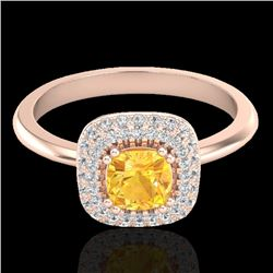 1.16 CTW Citrine & Micro VS/SI Diamond Ring Solitaire Double Halo 14K Rose Gold - REF-57N8A - 21025