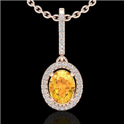 1.75 CTW Citrine & Micro Pave VS/SI Diamond Necklace Halo 14K Rose Gold - REF-51K8W - 20655
