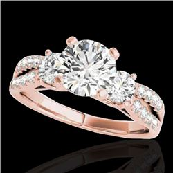1.75 CTW H-SI/I Certified Diamond 3 Stone Ring 10K Rose Gold - REF-216R4K - 35413