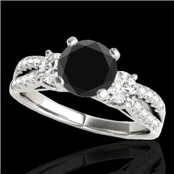 1.50 CTW Certified VS Black Diamond 3 Stone Ring 10K White Gold - REF-69V3Y - 35406