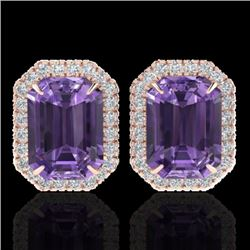 9.40 CTW Amethyst & Micro Pave VS/SI Diamond Halo Earrings 14K Rose Gold - REF-77M8F - 21215