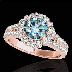 2.51 CTW SI Certified Fancy Blue Diamond Solitaire Halo Ring 10K Rose Gold - REF-309M3F - 33946