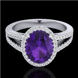 3 CTW Amethyst & Micro VS/SI Diamond Halo Solitaire Ring 18K White Gold - REF-67X6R - 20927