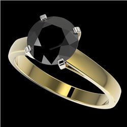 2.59 CTW Fancy Black VS Diamond Solitaire Engagement Ring 10K Yellow Gold - REF-55H5M - 36565