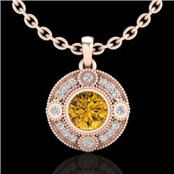 1.01 CTW Intense Fancy Yellow Diamond Art Deco Stud Necklace 18K Rose Gold - REF-136V4Y - 37708