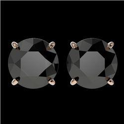 3.18 CTW Fancy Black VS Diamond Solitaire Stud Earrings 10K Rose Gold - REF-66M7F - 36698