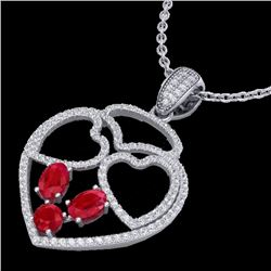 3 CTW Ruby & Micro Pave Designer Inspired Heart Necklace 14K White Gold - REF-117M8F - 22541