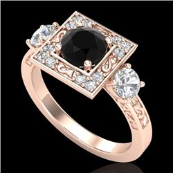 1.55 CTW Fancy Black Diamond Solitaire Art Deco 3 Stone Ring 18K Rose Gold - REF-149N3A - 38172