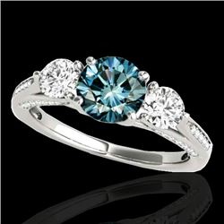 1.75 CTW SI Certified Fancy Blue Diamond 3 Stone Ring 10K White Gold - REF-209F3N - 35354