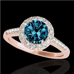 1.50 CTW SI Certified Fancy Blue Diamond Solitaire Halo Ring 10K Rose Gold - REF-169X3R - 33487