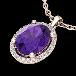 2.50 CTW Amethyst & Micro Pave VS/SI Diamond Necklace Halo 14K Rose Gold - REF-39F5N - 21066