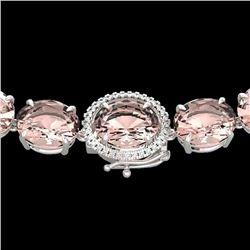 148 CTW Morganite & VS/SI Diamond Halo Micro Solitaire Necklace 14K White Gold - REF-1719W8H - 22306