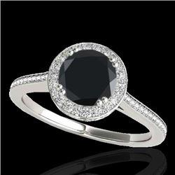 1.55 CTW Certified VS Black Diamond Solitaire Halo Ring 10K White Gold - REF-90A2V - 33529