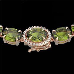 35.25 CTW Green Tourmaline & VS/SI Diamond Tennis Micro Halo Necklace 14K Rose Gold - REF-340K2W - 4