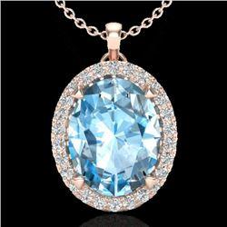 2.75 CTW Sky Blue Topaz & Micro VS/SI Diamond Halo Necklace 14K Rose Gold - REF-39K3W - 20581