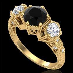 1.66 CTW Fancy Black Diamond Solitaire Art Deco 3 Stone Ring 18K Yellow Gold - REF-123H3M - 38054