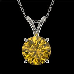 1 CTW Certified Intense Yellow SI Diamond Solitaire Necklace 10K White Gold - REF-147V2Y - 33190