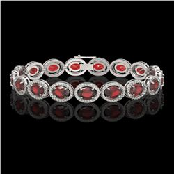 21.98 CTW Garnet & Diamond Bracelet White Gold 10K White Gold - REF-247Y6X - 41039