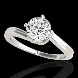 1 CTW H-SI/I Certified Diamond Bypass Solitaire Ring 10K White Gold - REF-141V3Y - 35032
