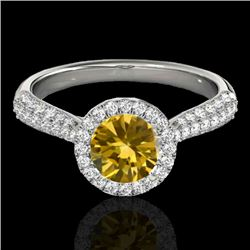 1.40 CTW Certified SI/I Fancy Intense Yellow Diamond Solitaire Halo Ring 10K White Gold - REF-170W4H