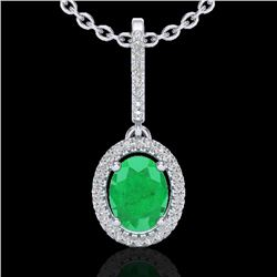 2 CTW Emerald & Micro Pave VS/SI Diamond Necklace Solitaire Halo 18K White Gold - REF-70V9Y - 20658