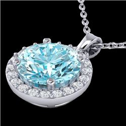 2 CTW Sky Topaz & Halo VS/SI Diamond Micro Pave Necklace 18K White Gold - REF-41F3N - 21555