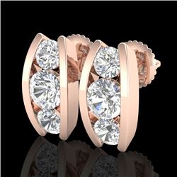 2.18 CTW VS/SI Diamond Solitaire Art Deco Stud Earrings 18K Rose Gold - REF-300K2W - 37011