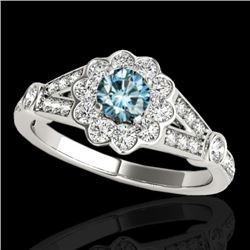 1.90 CTW SI Certified Fancy Blue Diamond Solitaire Halo Ring 10K White Gold - REF-227H3M - 34040