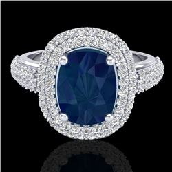3.50 CTW Sapphire & Micro Pave VS/SI Diamond Certified Halo Ring 18K White Gold - REF-143X6R - 20723