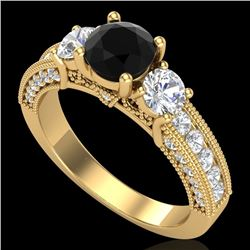 2.07 CTW Fancy Black Diamond Solitaire Art Deco 3 Stone Ring 18K Yellow Gold - REF-200Y2X - 37781