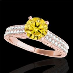1.91 CTW Certified SI Intense Yellow Diamond Solitaire Antique Ring 10K Rose Gold - REF-301N8A - 347