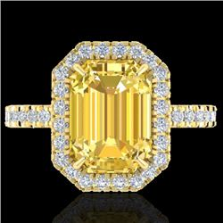 4.50 CTW Citrine And Micro Pave VS/SI Diamond Certified Halo Ring 18K Yellow Gold - REF-60Y7X - 2142