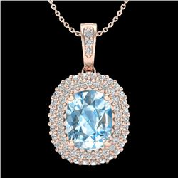 3 CTW Blue Topaz & Micro Pave VS/SI Diamond Certified Halo Necklace 10K Rose Gold - REF-65V5Y - 2040