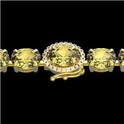 29 CTW Citrine & VS/SI Diamond Tennis Micro Pave Halo Bracelet 14K Yellow Gold - REF-117F3N - 23420