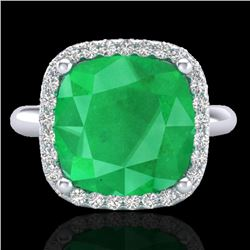 6 CTW Emerald And Micro Pave Halo VS/SI Diamond Ring Solitaire 18K White Gold - REF-82A9V - 23097