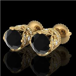 3 CTW Fancy Black Diamond Solitaire Art Deco Stud Earrings 18K Yellow Gold - REF-149W3H - 37417